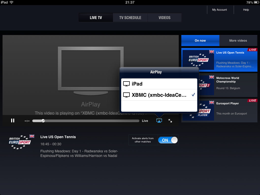 The British Eurosport App asking for an Airplay target