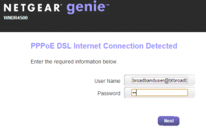 Netgear Genie Setup Wizard Step 3 Password Details
