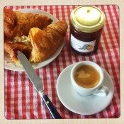Nespresso Coffee with a Fresh Croissant and home made Jam