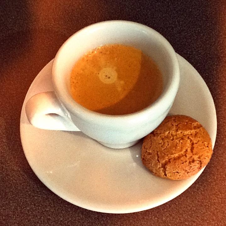 Nespresso Espresso Coffee with Amaretti Biscuit Wordless Wednesday