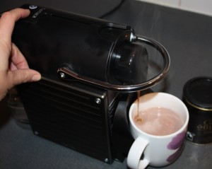 Krups Pixie making Coffee to make the Mocha