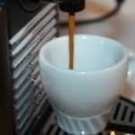 The Nespresso Pixie pouring a beautiful espresso